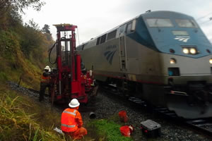 Safety is paramount when drilling on or near active railroad tracks.
